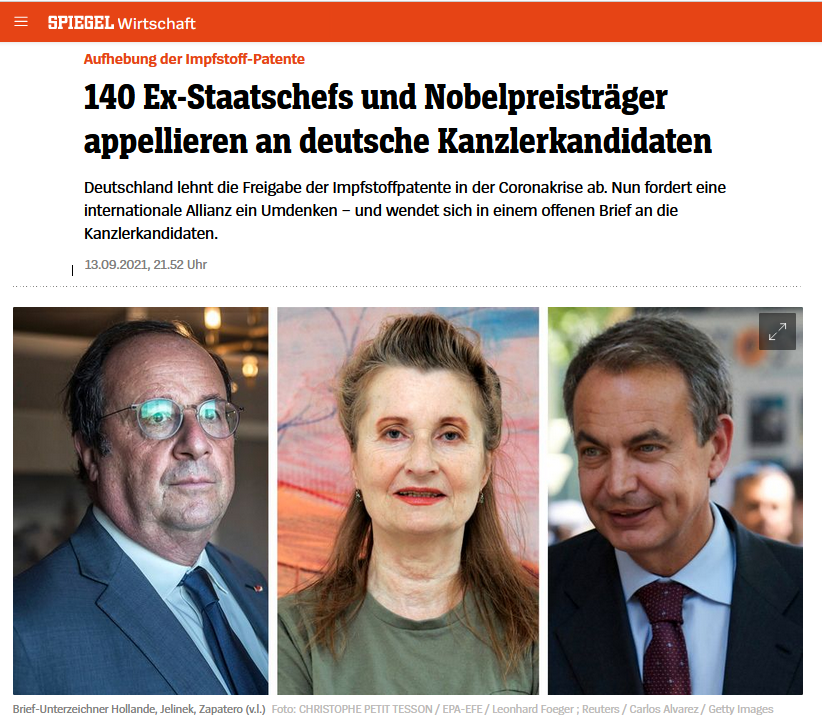 More than 140 former heads of state and Nobel laureates call on candidates for German chancellor to waive intellectual property rules for COVID vaccines